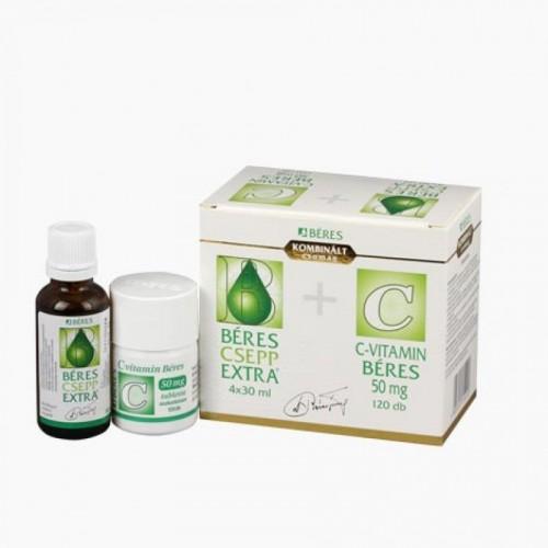 Béres Csepp Extra belsőleges oldatos csepp 4x30ml+C-vitamin 50 mg tabletta 120x